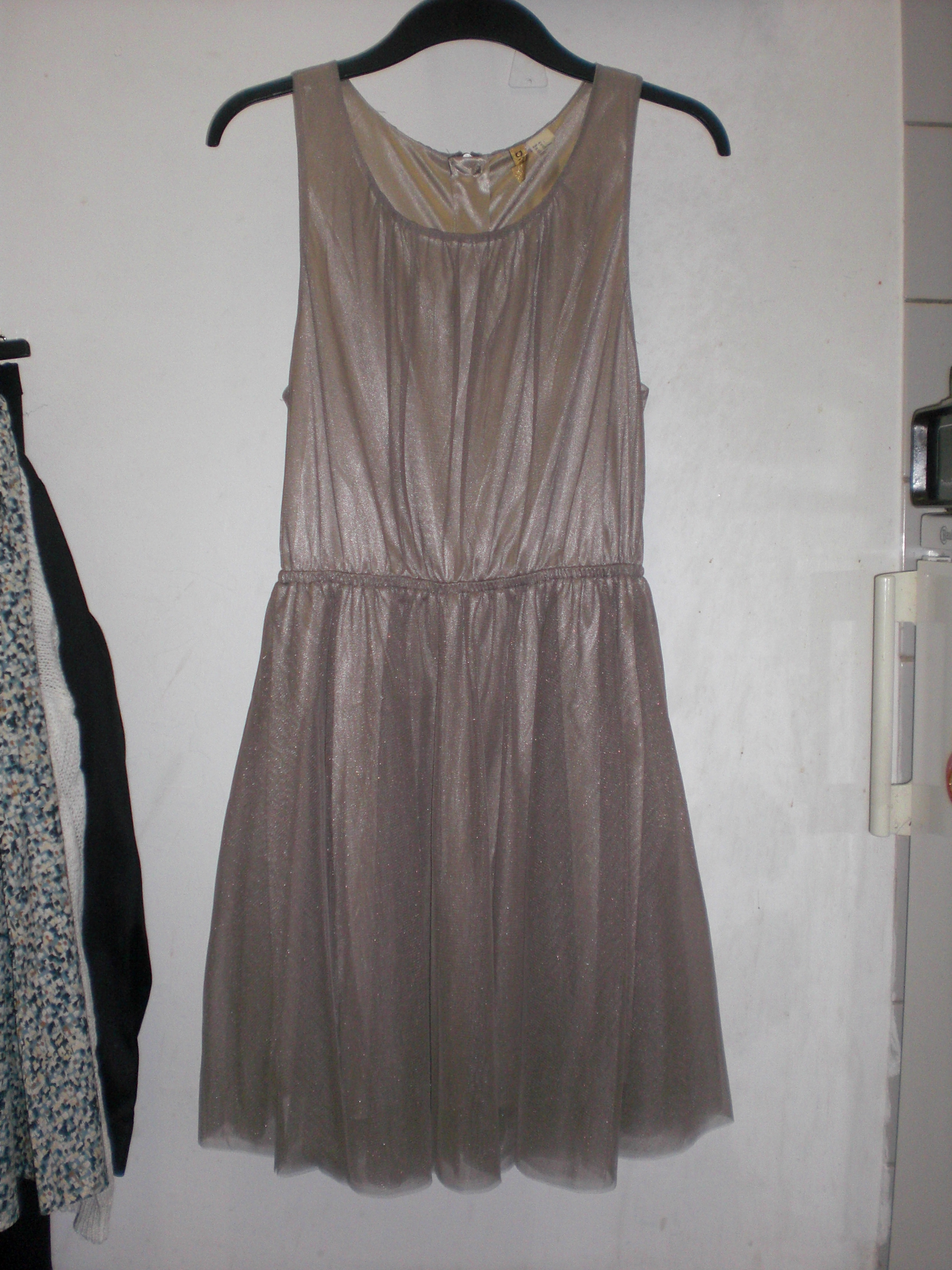 Taupe Sleeveless Tulle Dress