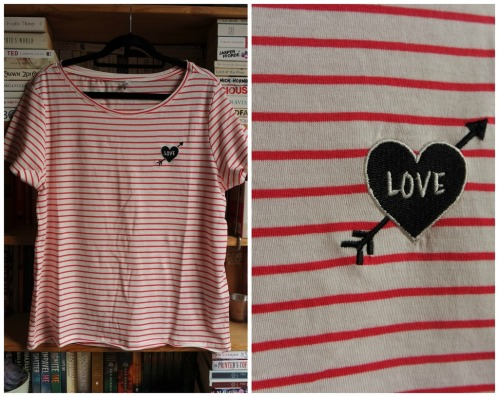 only red striped top with chest appliqué haul