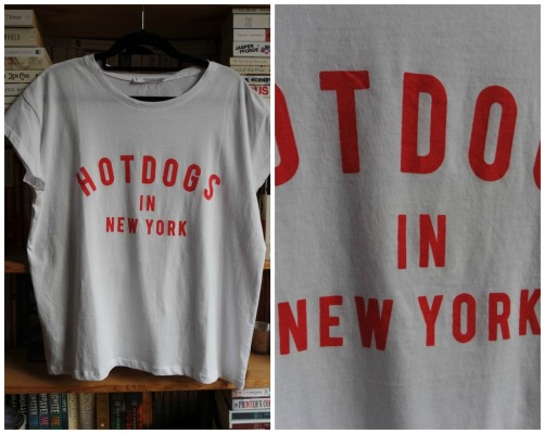 mango hot dogs in new york t-shirt white red haul