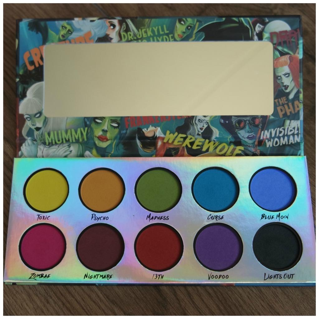 la splash classic horror eyeshadow palette review swatch makeup look